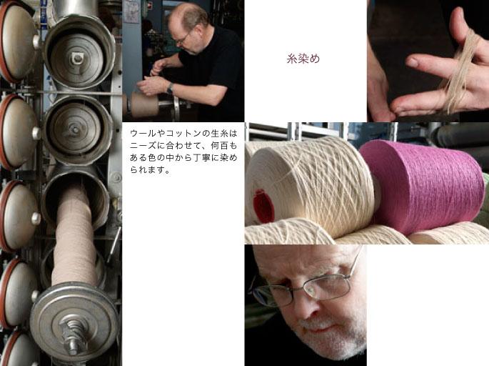 糸染め:ウールやコットンの生糸はニーズに合わせて、何百もある色の中から丁寧に染められます。