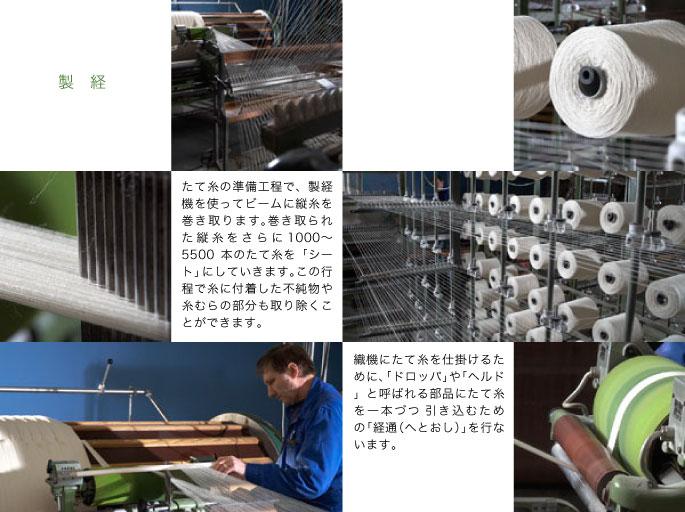 製経:たて糸の準備工程で、製経機を使ってビームに縦糸を巻き取ります。巻き取られた縦糸をさらに1000〜5500本のたて糸を「シート」にしていきます。この行程で糸に付着した不純物や糸むらの部分も取り除くことができます。織機にたて糸を仕掛けるために、「ドロッパ」や「ヘルド」と呼ばれる部品にたて糸を一本づつ 引き込むための「経通(へとおし)」を行ないます。
