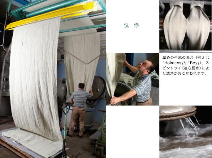洗浄:厚めの生地の場合(例えば「Holmens」や「Boy」)、スピンドライ(遠心脱水)により洗浄がおこなわれます。