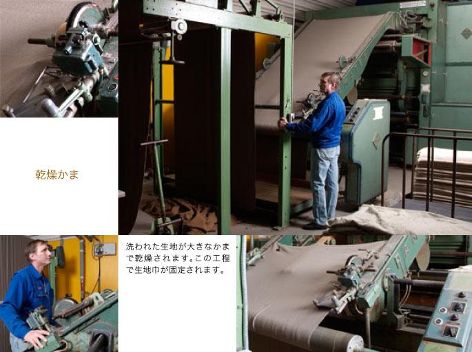 乾燥かま:洗われた生地が大きなかまで乾燥されます。この工程で生地巾が固定されます。