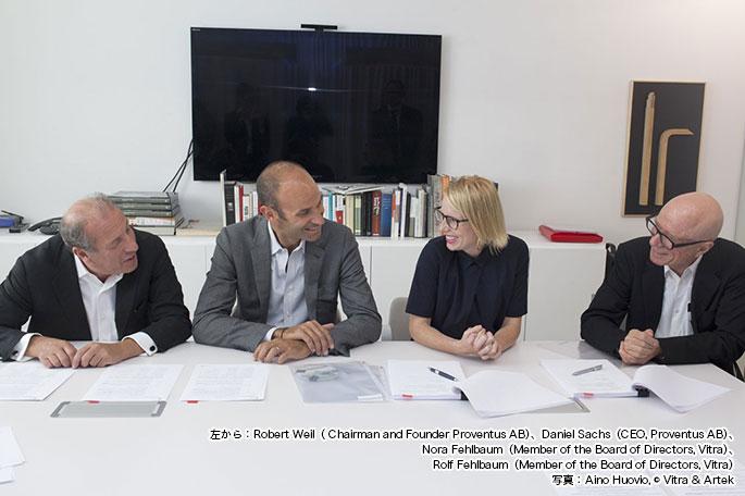 左から:Robert Weil( Chairman and Founder Proventus AB)、Daniel Sachs(CEO, Proventus AB)、Nora Fehlbaum(Member of the Board of Directors, Vitra)、Rolf Fehlbaum(Member of the Board of Directors, Vitra)写真: Aino Huovio, © Vitra & Artek
